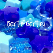 50 x Blue Mix Star Pony Beads - 13mm - Opaque, Pearl, Glitter