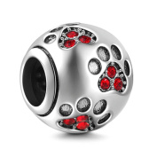 Dog Paw Print Charms 925 Sterling Silver Animal Pawprint Bead for Snake Chian European Bracelet