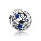 BAKCCI European Blue Vintage Night Sky Hollow 925 Silver Charm Beads DIY Fits for Original Pandora Bracelets Charm Jewellery