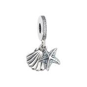 BAKCCI Summer Blue Tropical Starfish and Seashell Beads DIY Fits for Original Pandora Bracelets Fashion Charm Jewellery