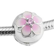 BAKCCI Spring Collection Pink Magnolia Bloom Clip Beads 925 Silver Fits for Original Pandora Bracelets DIY Charm Jewellery