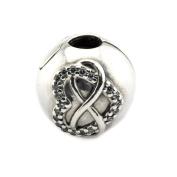 BAKCCI European Autumn Infinity Heart Clips Beads 925 Silver DIY Fits for Original Pandora Bracelets Charm Jewellery