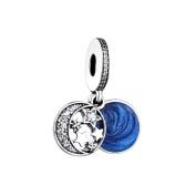 FUNSHOPP European Vintage Night Sky Shimmering Midnight Blue Enamel Clear CZ Beads 925 Silver DIY Fits for Original Pandora Bracelets Charm Jewellery