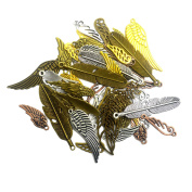 euhuton 100 Gramme Antique Bronze Plated Mixed Alloy Feather Wings Pendants Charms for DIY Crafts Jewellery Making Findings