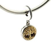 FUNSHOPP European Autumn 14K Gold Plated Family Tree Roots Bead 925 Silver DIY Fits for Original Pandodra Bracelets Charm Jewellery