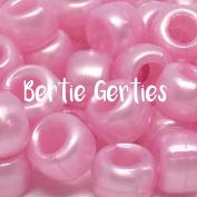 100 x Light Pink Pearl Pony Beads - 9 x 6mm