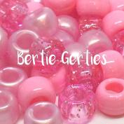 Light Pink Mix Pony Beads - 9 x 6mm - Glitter, Opaque, Pearl, Transparent
