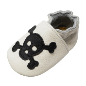 YIHAKIDS Soft Leather Baby Shoes Toddler Moccasins Pram Crib Shoes Non-Slip Suede Sole Cool Skull