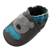 YIHAKIDS Baby Pram Shoes Premium Soft Leather Toddler Shoes First Walking Moccasins With Cartoon Bear