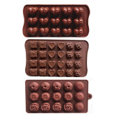 Wocuz Set of 3 Chocolate Silicon Moulds Candy Moulds Cake Decorations for Hard Candy Jello Shot Ice Cube Tray Moulds