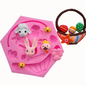 Wocuz Rabbit Easter Egg Chocolate Silicon Moulds Candy Moulds Cupcake Cake Baking Decorations