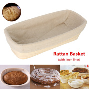 Jeteven 30cm Banneton Bread Proofing Basket with Liner, Oval Perfect Brotform Proofing Rattan Basket for Making Beautiful Bread