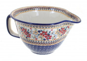 Polish Pottery Red Daisy Batter Bowl