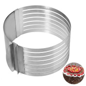 Cake Cutter, Justdolife Cake Slicer Retractable Stainless Steel Circle Mousse Cake Mould Cut Tool