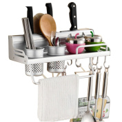 FOKOM Cutlery Racks Wall-mounted Kitchen Utensils Shelf with 2 Holes 3 Knife Holder and 6 Hooks