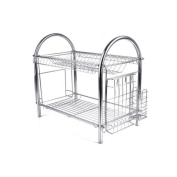 HornTide 2-Tier Countertop Dish Rack Stainless Steel Bowl Cup Glass Plate Drying & Storage Rack Kitchen Dryer Tray with Utensil Holder