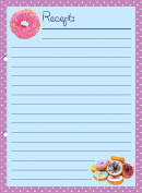 """'20 x Beautiful Perforated Recipe Cards Printed on Both Sides – """"Delicious Donuts A5"""