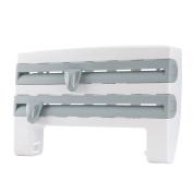 KINGSO Kitchen Foil Cling Film Paper Towel Holder,Storage Rack Paper Dispenser Roll Holder Rack Wall-Mount Plastic Wrap and Foil Dispenser Blue