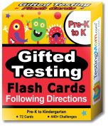 Gifted Testing Flash Cards – Following Directions for Pre-K – Kindergarten – Educational Toy Practise for CogAT test, OLSAT test, ITBS, NYC Gifted and Talented, WISC, WPPSI