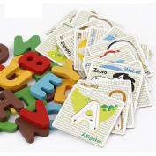 Baby Besties Alphabet Letters ABCs Matching Puzzle Cards with Animals For Kids Prechool Toddlers,52pcs