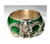 Cloisonne Chinese Tibet Silver Carved Green Jade Men's Ring / Dragon