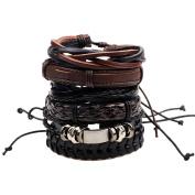 HuntGold 6Pcs/Set Unisex Alloy Beads Braided Genuine Leather Bracelet Wristband Cuff Bangle for Men & Women