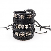 HuntGold 6Pcs/Set Alloy Skull Adjustable Braided Leather Bracelets Wristband Cuff Bangle