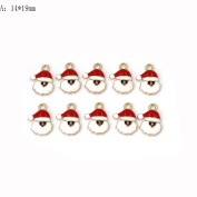 JETTINGBUY 10pcs Alloy Christmas Charms Set Jewellery Pendants Xmas Holiday Decoration