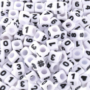 """YC 300pcs 7x7mm.1/4""""x1/4"""".Mixed Acrylic Cube Letter Beads White Beads Black Letter"""