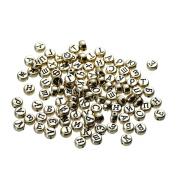YC 400pcs 7mm Random Antique Gold Beads Black Russian Alphabet Round Acrylic Beads