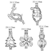 10pcs Mix Stainless Steel Tones Alloy Christmas Gift Snowflakes Snowman Tree Deel Santa Claus Bead Cage Pendant Add Your Own Pearls Stones Rock Perfume Essential Oils Diffusing Locket Charms