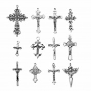 24Pcs Mix Antique Silver Cross Jesus Prayed Charms Necklace Pendant Charm Jewellery Making