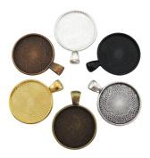 "30pcs Mix Colour Cleverdelights 1"" Round Pendant Trays Antique Copper, Antique 25mm Pendant Blanks Cameo Bezel Cabochon Settings - 25 Mm 1 Inch Diameter"