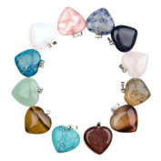 Beetest-10 PCS Heart-Shaped Stone Pendants for Necklace Jewellery DIY Making Accessories Random Colour