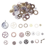 Demiawaking 100Pcs Steampunk Gears and Cogs Charms Mixed Antique Gear Wheel Watch Parts for Jewellery Making Crafts Art DIY Accesories