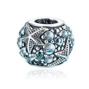 BAKCCI European Summer Blue Oceanic Starfish Beads DIY Fits for Original Pandora Bracelets 925 Silver Charm Jewellery