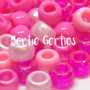 Pink Mix Pony Beads - 9 x 6mm - Mixed Styles and Shades
