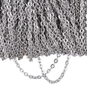 20 Metres Stainless Steel Cable Chain Link Chain Necklace for Jewellery Accessories DIY, Silver Colour