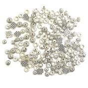 euhuton 100 Gramme Antique Silver Plated Mixed Alloy Beads Space Charms for DIY Crafts Jewellery Making Findings