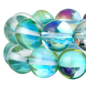 RUBYCA Round Moonstone Crystal Glass Beads Aura Iridescent Jewellery Making
