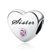 FUNSHOPP Autumn Fashion European Sister's Love Charms With Pink Cubic Zirconia DIY Fits for Pandora Bracelets 925 Silver Charm Jewellery