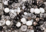 400 pieces Elegant black, white and clear glass crystal rondelle and round bead mix for jewellery making