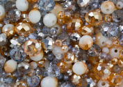 Royal Gold and Silver coloured glass crystal rondelle bead mix in 3mm, 6mm and 8mm for jewellery making