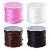 ofoen Elastic Cord Thread, 4 Roll 0.8mm Beading Threads Stretch String for Jewellery Making, 60m/ Roll