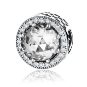 Pack Of 2 Radiant Round Clear Charms - fits Pandora, Biagi & Troll bracelets BMP