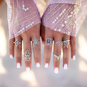 Gluckliy 7 Pcs Womens Crystal Alloy Knuckle Rings Set Vintage Finger Rings Women Jewellery Accessories