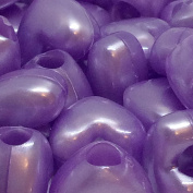 50 x Lilac Pearl Heart Pony Beads - 13mm