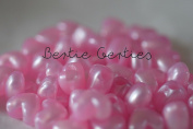 50 x Light Pink Pearl Heart Pony Beads - 13mm