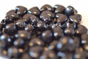 50 x Black Opaque Heart Pony Beads - 13mm