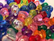 50 x Mixed Transparent Heart Pony Beads - 13mm